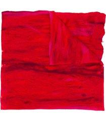 faliero sarti distressed oversized scarf - red