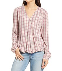 women's treasure & bond shirred wrap top, size xx-small - pink
