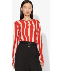 proenza schouler zebra stripe print long sleeve t-shirt ecru/poppy zebra stripe/orange m