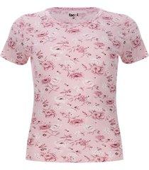camiseta flores rosa color rosado, talla l