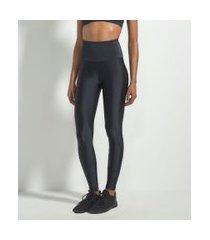 calça esportiva legging com cós alto e brilho | get over | preto | m