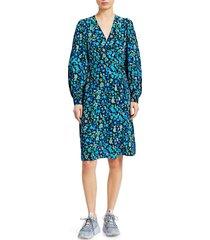 ganni women's floral silk blend wrap dress - azure blue - size 36 (4)