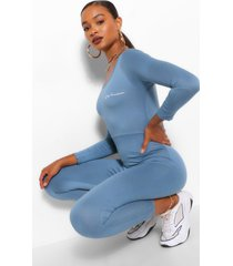 woman print long sleeved scoop neck jumpsuit, petrol