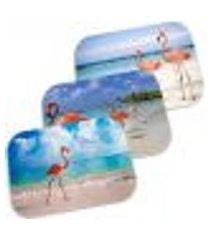 kit 3 capachos decorativos flamingo 40cm x 60cm