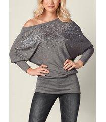 gris one camiseta de diamantes de imitación con mangas de murciélago y hombros
