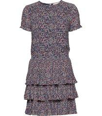 pleat tier dress korte jurk roze michael kors