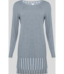 pijama feminino listrado manga longa cinza mescla