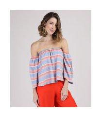 blusa feminina ombro a ombro listrada manga 7/8 azul claro