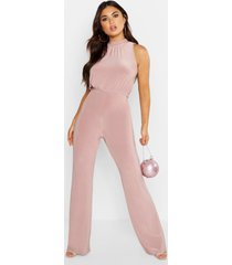 high neck ruched jumpsuit
