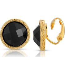 2028 gold tone small black round faceted button clip earrings