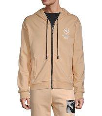 roberto cavalli sport men's dragon graphic logo hoodie - summer wheat - size s