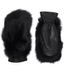 """hando' fox fur leather mittens"