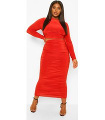 plus strakke geplooide top en midi rok set, rust