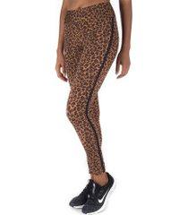 calça legging oxer animal print - feminina - marrom/marrom esc