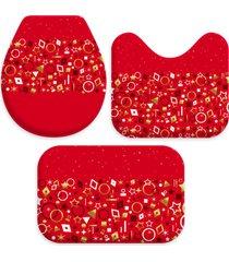 jogo tapetes para banheiro elementos natalinos vermelho ãšnico love decor - multicolorido - dafiti