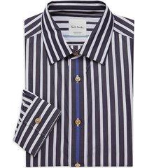 paul smith men's striped dress shirt - black - size 15