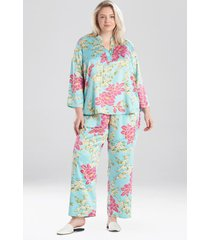 harumi satin pajamas / sleepwear / loungewear, women's, plus size, blue, size 3x, n natori