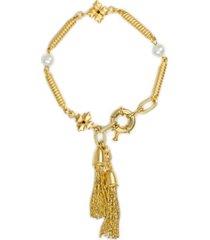 patricia nash gold-tone pave floret & freshwater pearl (7-7.5mm) chain tassel flex bracelet