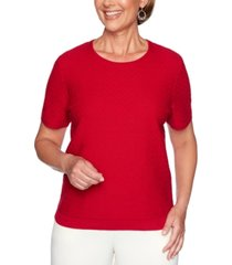 alfred dunner petite classics textured short-sleeve sweater