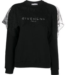givenchy lace panel sweatshirt - black