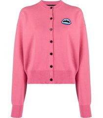 markus lupfer beaded lip patch cardigan - pink