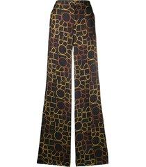 joseph tulip small logo-print trousers - black