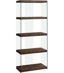"""monarch specialties bookcase - 60"""" h reclaimed glass panels"""