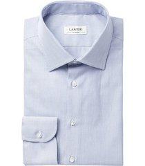 camicia da uomo su misura, grandi & rubinelli, natural stretch blu microrigata, quattro stagioni | lanieri