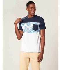 camiseta slim folhagem com bolsos malwee azul marinho - g