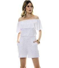 macaquinho bisã´ laise branco - branco - feminino - dafiti