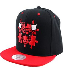 gorro chicago bulls nba puzzle negro mitchell and ness