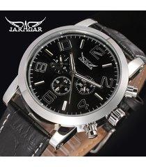 reloj mecánico automático de cuero hueco del reloj-negro