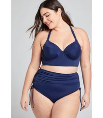 lane bryant women's longline underwire balconette swim bikini top 44ddd new navy