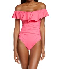 women's la blanca off the shoulder one-piece swimsuit, size 8 - coral