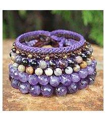 amethyst and jasper wristband bracelet, 'bangkok violet' (thailand)