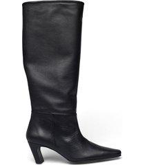 ingela black leather höga stövlar svart flattered