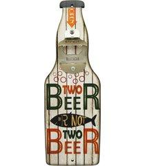 """abridor de garrafa de parede branco """"two beer..."""" kasa ideia - multicolorido - dafiti"""
