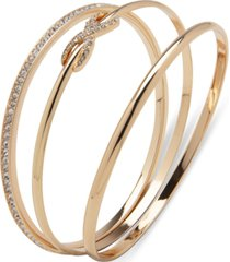 anne klein gold-tone 3-pc. set pave infinity bangle bracelets