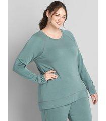 lane bryant women's livi cozysoft sweatshirt 22/24 blurred teal