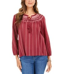 style & co petite striped textured top, created for macy's