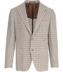 cotton linen microchecked jacket