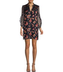 julius floral ruffle-sleeve shift tunic dress