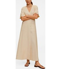 mango women's buttoned wrap dress
