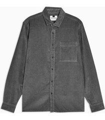 mens mid grey grey one pocket corduroy slim shirt