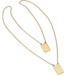 anthony jacobs men's 18k goldplated stainless steel two-strand religious pendant necklace