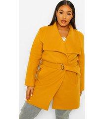 plus nepwollen duster jas met gesp en grote kraag, mustard