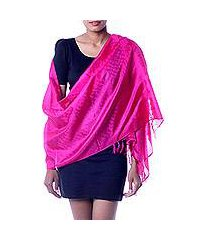 banarasi silk shawl, 'fuchsia dawn' (india)