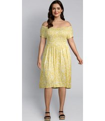 lane bryant women's floral shirred swing dress 22/24 yellow floral