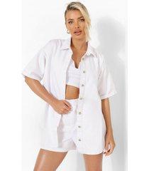 boxy spijkerblouse, white