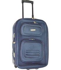 maleta mediana 24 pulgadas 2 ruedas en lona azul - le sak